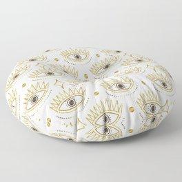 Magic Eye Tribal Pattern Gold White Floor Pillow