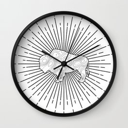 Bison in Topo Wall Clock