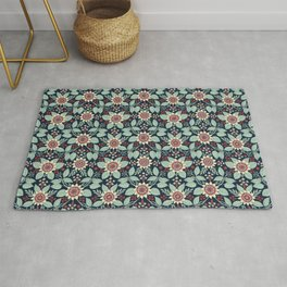 Red, Turquoise, Cream & Navy Blue Floral Pattern Rug