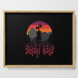 Scary Siren Head vintage sunset meme  Serving Tray