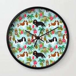 Cavalier King Charles Spaniel tiki hawaiian island tropical dog breed pattern dogs Wall Clock