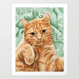 Soft and Purry Orange Tabby Cat Art Print