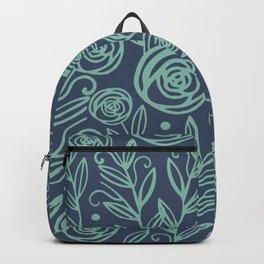Indigo Blue Mint FLowers Backpack