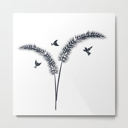Wheat and birds vector illustration Metal Print