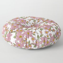 Elegant Green Yellow Pink Glitter Flowers Floor Pillow