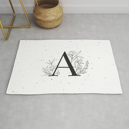 Black Letter A Monogram / Initial Botanical Illustration Rug