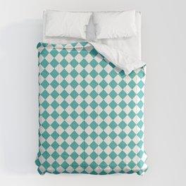 Small Diamonds - White and Verdigris Comforters