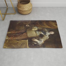 "Sir Anthony van Dyck ""Full length portrait painting of Gaston of France, Duke of Orléans"" Rug"