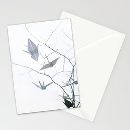 Origami Paper Cranes and Tree Branches Peace Stationery Cards