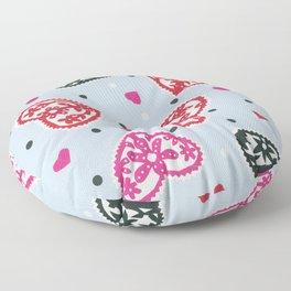 Scattered folk Floral Papercut Hearts by Nettie Heron-Middleton Floor Pillow