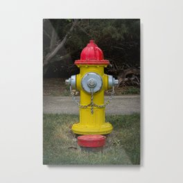 Red Silver and Yellow Mueller Super Centurion Fire Hydrant Colorful Fireplug Metal Print