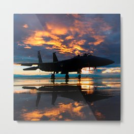 Fighter Jet Airplane at Sunset Military Gifts Metal Print