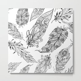 Black and white tribal feathers pattern Metal Print