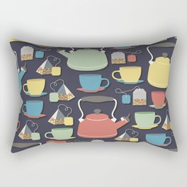 Colorful tea set pattern of a kettle, tea cups, and tea bags in green, yellow, red and blue with dark blue background Rectangular Pillow