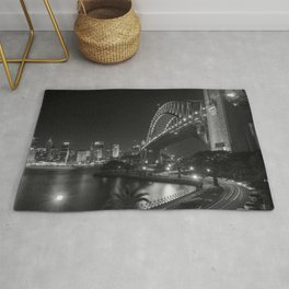 Sydney Harbor, Australia night cityscape black and white photograph / black and white photography by Lenny K. Photography Rug