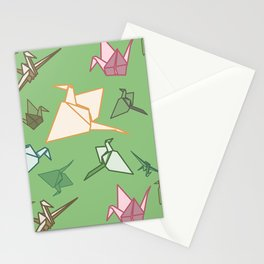 Paper cranes playful origami pattern Stationery Cards