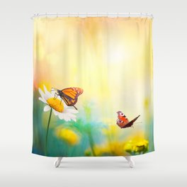 Flowers With Butterflies in the spring garden illustration Shower Curtain