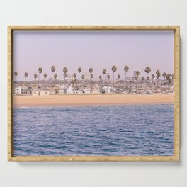 Vintage Newport Beach Print {2 of 4} | Photography Ocean Palm Trees Magenta Tropical Summer Sky Serving Tray
