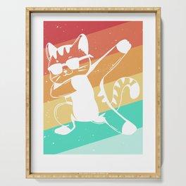 Dabbing Cat Dance Dab Vintage Retro Serving Tray