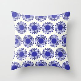 vintage flowers blue  Throw Pillow