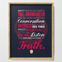 Enunciation of Truth // Comic, Anarchy, Revolution, Anonymous - Dark Ver Serving Tray