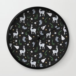 IT'S CHRISTMAS TIME - black Wall Clock