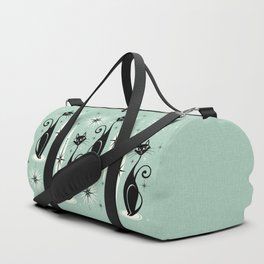 Mid Century Meow Retro Atomic Cats Mint Duffle Bag
