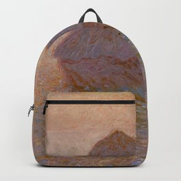 Grainstack, Sun in the Mist by Claude Monet Backpack