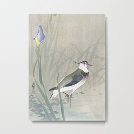 Lapwing Bird and Blue Iris Flower - Vintage Japanese Woodblock Print Art Metal Print