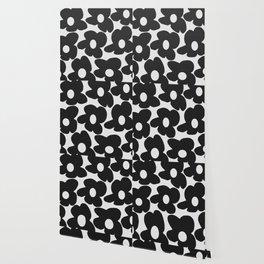 Black Retro Flowers White Background #decor #society6 #buyart Wallpaper