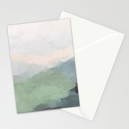 Seafoam Green Mint Black Blush Pink III Abstract Nature Land Art Painting Art Stationery Cards