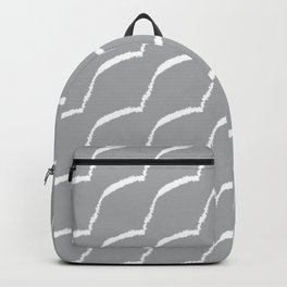 Grey Abstract Brush Stroke Fur Pattern Backpack