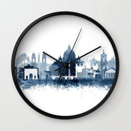 Rome Skyline Watercolor Navy Blue by Zouzounio Art Wall Clock