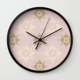 Ornamental Geometric Soft Pink and Metallic Wall Clock