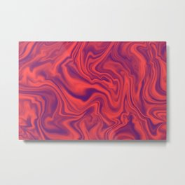 Neon Living Coral - color of year 2019, Ultra Violet Marble Abstract Gradient Pattern Metal Print