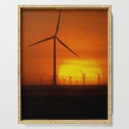 Windmills at Sunset (Digital Art) Serving Tray
