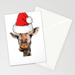 Christmas Giraffe Wearing a Santa Hat Holiday Giraffe Christmas Pajamas Stationery Cards