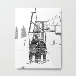 Snow Lift // Ski Chair Lift Colorado Mountains Black and White Snowboarding Vibes Photography Metal Print