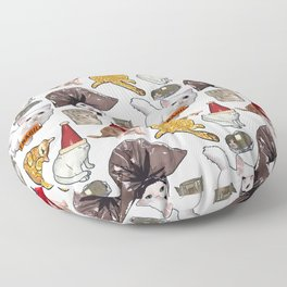 Crazy Cats Funny Meme Repeating Pattern Floor Pillow