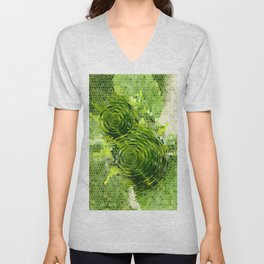 Spinning top and mosaic in green Unisex V-Neck