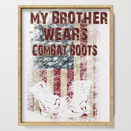 Brother Wears Combat Boots for Sister Military Family Deployed Bro Serving Tray