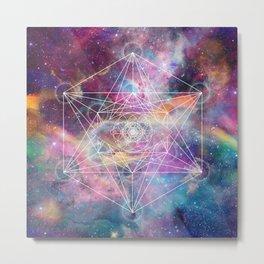 Watercolor and nebula sacred geometry  Metal Print