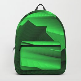 Strange gentle landscap with stylised mountains, sea and green Sun. Backpack