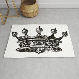 Royal Crown   Vintage Crown   Black and White   Rug