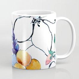 Watercolor Floral & Leaves Print With Pencil Sketching Coffee Mug