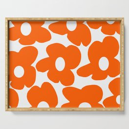 Orange Retro Flowers White Background #decor #society6 #buyart Serving Tray