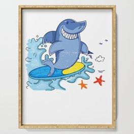 Surfing Shark Serving Tray