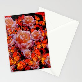Decorative Old Roses Gold-Red Butterflies Stationery Cards