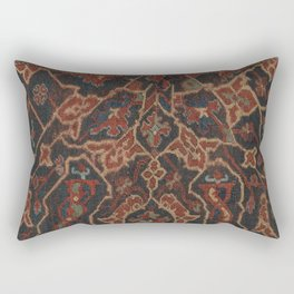 Boho Chic Dark II // 17th Century Colorful Medallion Red Blue Green Brown Ornate Accent Rug Pattern Rectangular Pillow