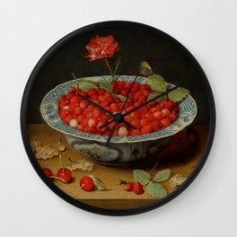 "Jacob van Hulsdonck ""Wild Strawberries and a Carnation in a Wan-Li Bowl"" Wall Clock"